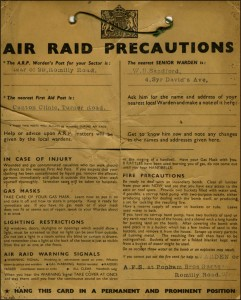 Air Raid Precautions ARP card WW2