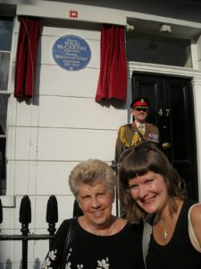 Sue Light with dau Hannah- unveiling of plaque to Maude McCarthy 2014